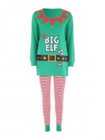 Womens Green Elf Pyjama Set