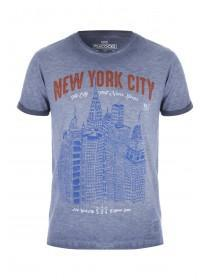 Mens Blue NYC Hand Sketch T-Shirt
