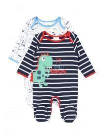 Baby Boy 2pk Dino Sleepsuits