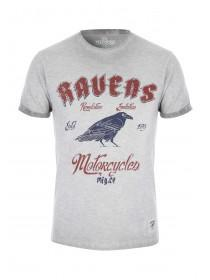 Mens Grey Cool Wash Raven T-Shirt
