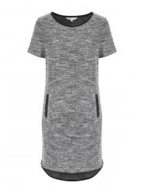 Womens Grey Double Pocket Tunic Dress