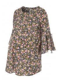 Womens Black Floral Fluted Sleeve Maternity Top