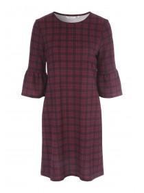Womens Burgundy Check Dress