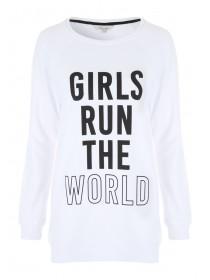 Womens White Slogan Sweater