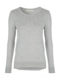 Womens Grey Crew Neck Stepped Jumper