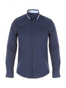 Mens Long Sleeve Navy Tipped Shirt