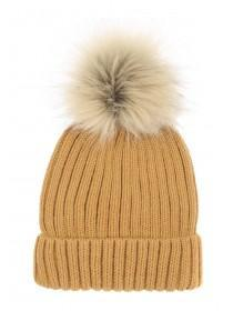 Womens Ribbed Pom Beanie Hat