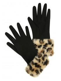 Womens Black Fur Trim Gloves