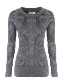 Womens Silver Lurex Ribbed Turtle Neck Jumper