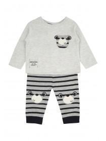 Baby Boy Grey Bear Stripe Set