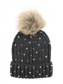 Womens Charcoal Bling Beanie Hat