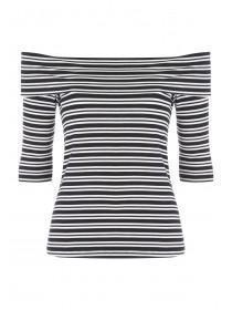 Womens Black Striped Bardot Top