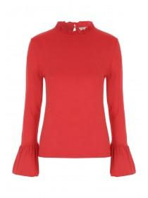 Womens Red Frill Neck Top