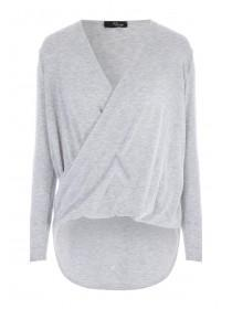 Jane Norman Grey dip hem wrap jumper