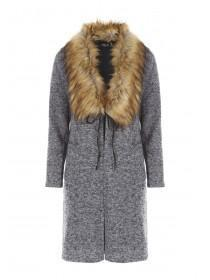 Jane Norman Grey Fur Trim Long Line Cardigan