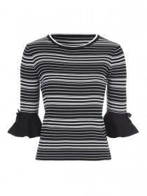 Jane Norman Monochrome Stripe Flute Sleeve Jumper