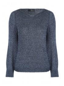 Jane Norman Blue Metallic Jumper