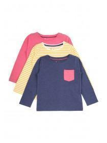 Younger Girls Pink 3PK long Sleeve T-Shirts