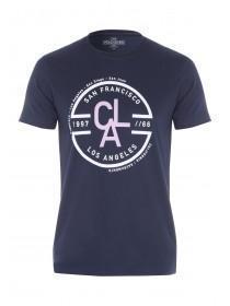 Mens Dark Blue LA Circle T-Shirt