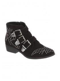 Womens Black Studded Biker Boots