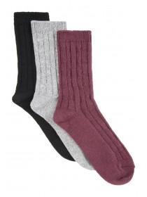 Womens 3PK Casual Cable Socks