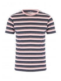 Mens Pink Striped Crew T-Shirt