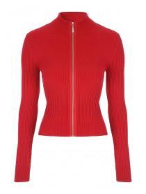 Jane Norman Red Zip Up Cardigan