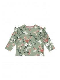 Younger Girls Khaki Frill Sleeve Top