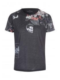 Mens Black Skull Stencil T-shirt
