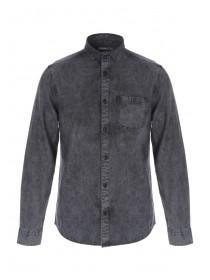 Mens Black Acid Wash Denim Shirt
