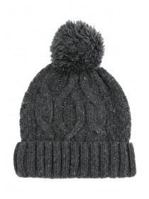 Mens Grey Chunky Knit Beanie Hat
