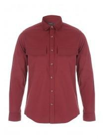 Mens Red Long sleeve Twill Shirt