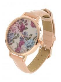 Womens Pink Floral Dial Watch
