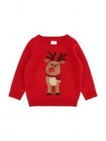 Younger Girls Red Reindeer Jumper