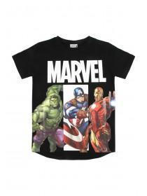 Younger Boys Black Marvel T-Shirt