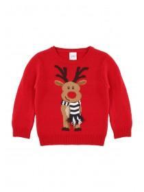 Younger Boys Red Reindeer Jumper