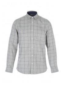 Mens Long Sleeve Herringbone Check Shirt