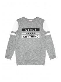 Older Girls Grey Girls Can Do Anything Sweater