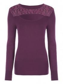 Jane Norman Purple cut out detail jumper