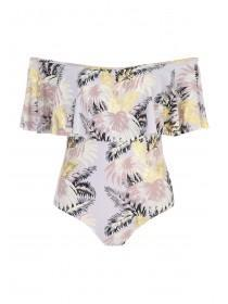 Jane Norman Grey Palm Leaf Bardot Swimsuit