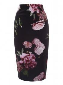 Jane Norman Floral Velvet Pencil Skirt