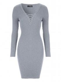 Jane Norman Grey Lace Up Ribbed Jumper Dress