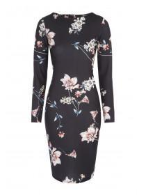 Jane Norman Black Floral Bodycon Dress