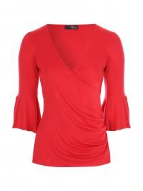 Jane Norman Red flared sleeve wrap top