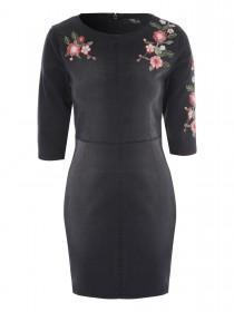 Jane Norman Black Embroidered Denim Dress