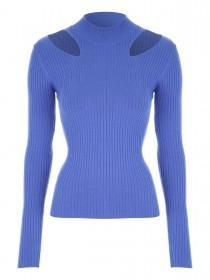 Jane Norman Blue Cutout High Neck Jumper
