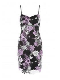 Jane Norman Black Floral Crochet Bodycon Dress