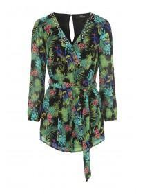 Jane Norman Tropical Print Embellished Playsuit