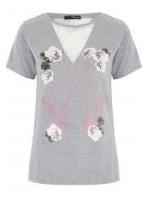 Jane Norman Grey Lace Insert Slogan T-Shirt