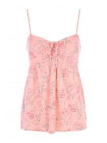 Jane Norman Pink Floral Tie Front Cheesecloth Top